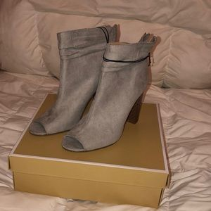 Gray peep toe booties